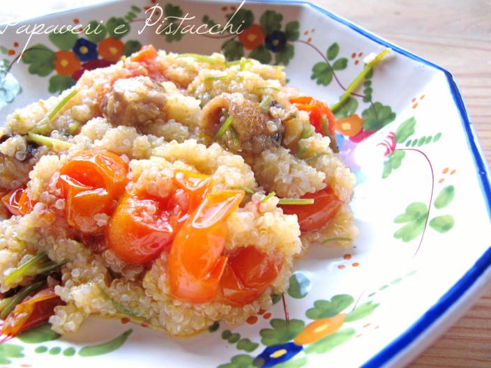Quinoa con Agretti Funghi e Pomodorini
